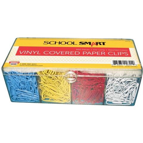 School Smart Metal Vinyl Coated Paper Clip, Standard, Assorted Color, Pack of 800