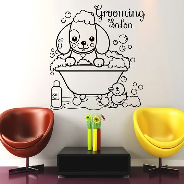 Vet Shop Wall Decal, Dog Grooming Salon Vinyl Sticker, Dog Grooming Wall Decal, Dog Art, Puppy Pet Shop Decal. Opens flyout.