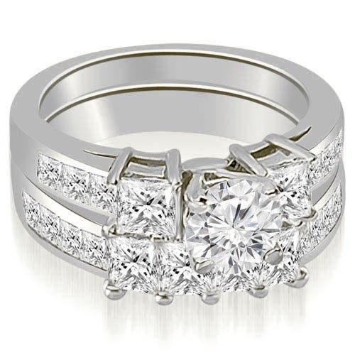 3.35 cttw. 14K White Gold Channel Princess and Round Cut Diamond Bridal Set