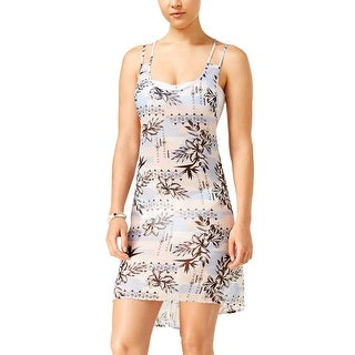Miken Womens Floral Print Strappy Back Cover Up Dress Serenity Rose Medium M