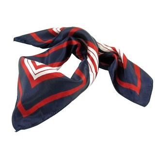 Spring Autumn 50cm x 50cm Neck Scarf Kerchief Dark Blue Red White for Woman