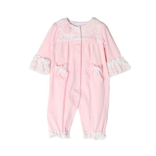 Isobella & Chloe Baby Girls Light Pink Sweet Pea Lace Pocket Romper