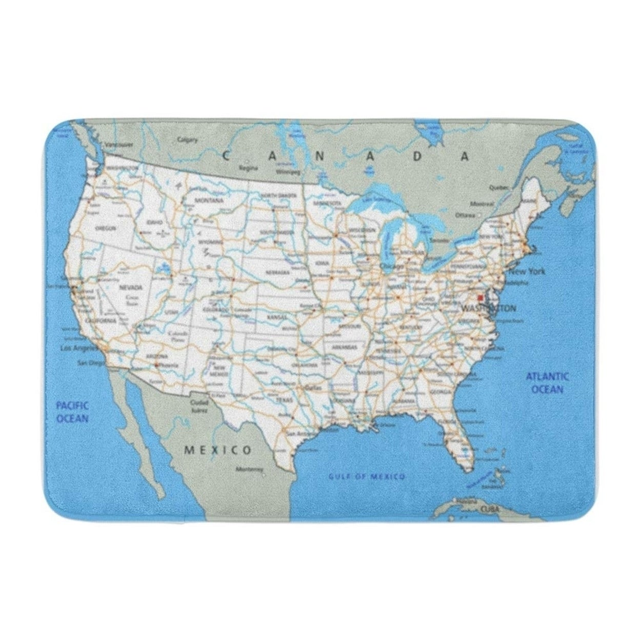 Shop Usa High Detailed United States Of America Road Map Labeling City Doormat Floor Rug Bath Mat 23 6x15 7 Inch Multi Overstock 31778603