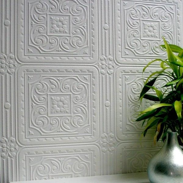 Brewster 437-RD80000 Turner Tile Paintable Textured Vinyl Wallpaper - N/A