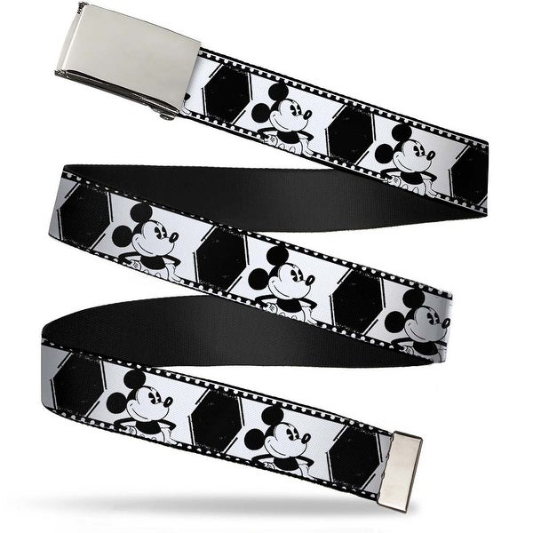 "Blank Chrome 1.0"" Buckle Mickey Standing Pose Film Strip White Black Web Belt 1.0"" Wide - S"
