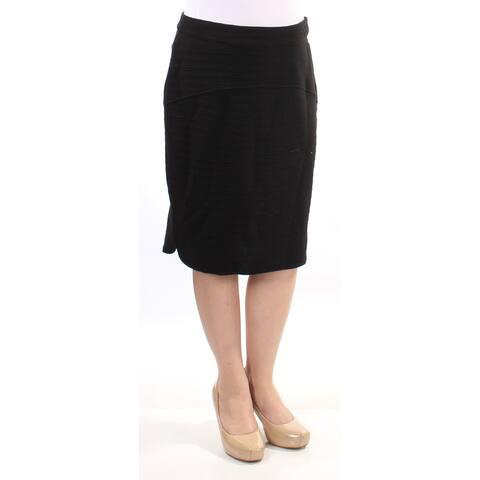 KENSIE Womens Black Textured Below The Knee Pencil Skirt Size: M