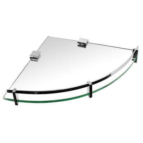 Mount-It! Glass Corner Shelf For Shower and Bathroom, Wall Mounted With Chrome Rail & 8mm Tempered Glass - Silver