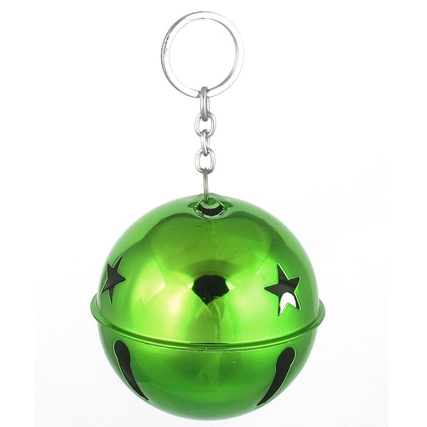 80mm Dia Green Metal Keychain Hollow Design Ring Bell Decor for Christmas Purse