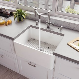 "ALFI brand ABF2418 24"" White Thin Wall Single Bowl Smooth Apron Fireclay Kitchen Farm Sink"