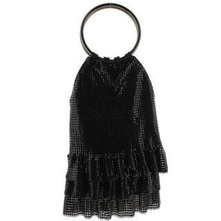 Whiting & Davis Womens Metal Mesh Ruffled Evening Handbag - Black - Small