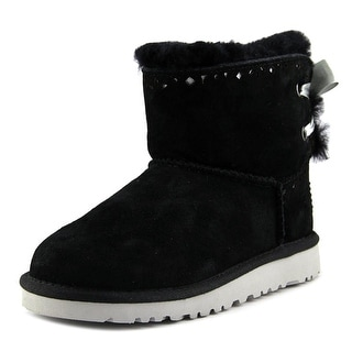 Ugg Australia Dixi Flora Youth Round Toe Suede Black Winter Boot