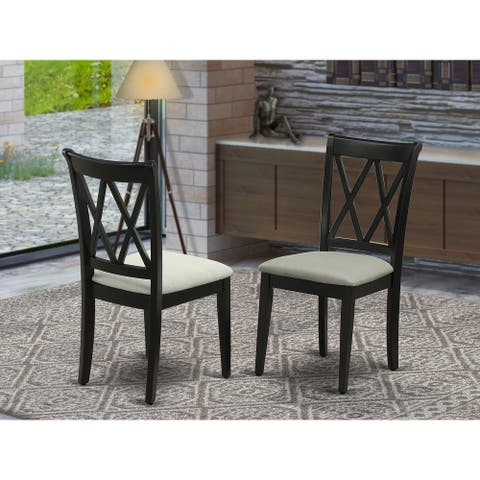 Clarksville Black Double X-back Chairs with Linen Fabric (Set of 2)
