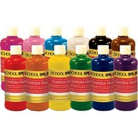 School Smart Liquid Tempera Paint Set, 1 Pint, Assorted Colors, Set of 12