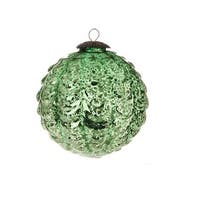 "4"" Decorative Dark Green Scalloped Antiqued-Style Christmas Glass Ball Ornament"