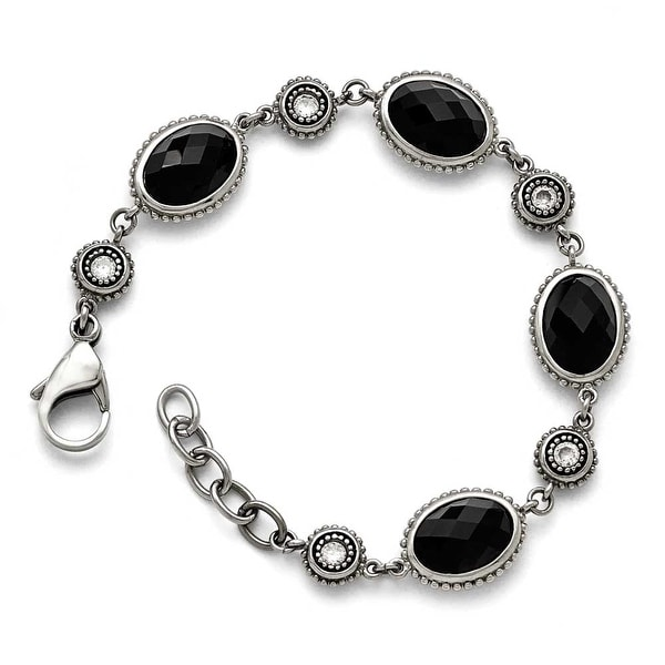 Chisel Stainless Steel Polished Black Onyx/CZ with .75in ext. Bracelet
