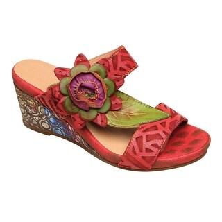 Spring Step Women's Floral Leather Sandal - Multi-Color Wedge Heel Slides