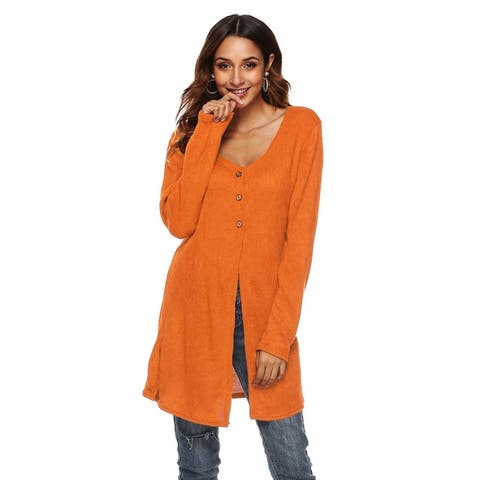 Women's Cardigan Sweater V-Neck Button Down Knitwear Long Sleeve Soft Basic Knit Snap Cardigan Sweater