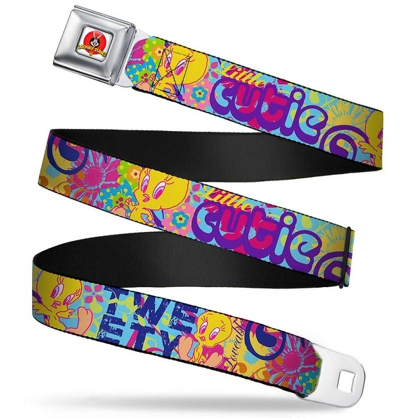 Looney Tunes Logo Full Color White Tweety Bird Poses Little Cutie Loveable Seatbelt Belt