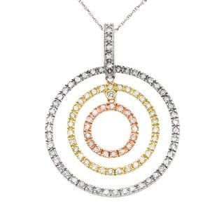 3/4 ct Diamond Circle Pendant in 14K Three-Tone Gold