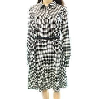 Lauren Ralph Lauren NEW Black Women's Size 16 Houndstooth Shirt Dress
