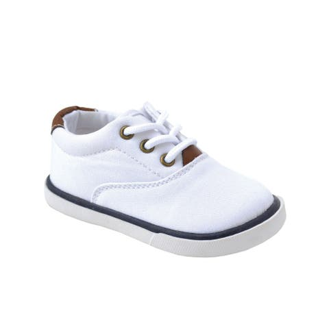 Baby Deer Little Boys White Canvas Lace-Up Casual Sneakers