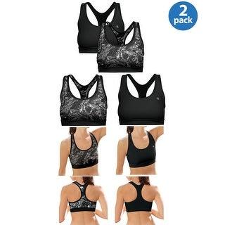 Champion Ladies Removable Foam Cups Sports Bra Grey and Black 2-Pack Medium M