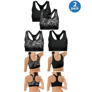 Champion Ladies Removable Foam Cups Sports Bra Grey and Black 2-Pack Small S