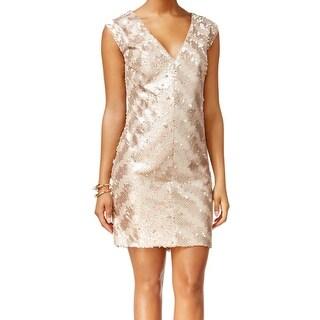 Rachel Roy NEW Gold Women's Size 10 Sheath V-Neck Sequin Keyhole Dress