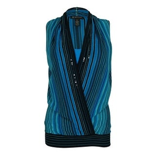 INC International Concepts Women's Striped Sequined Top - pm
