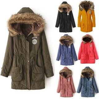 Women Winter Warm Long Sleeve Faux Fur Hooded Slim Jacket Coat Parka Outwear