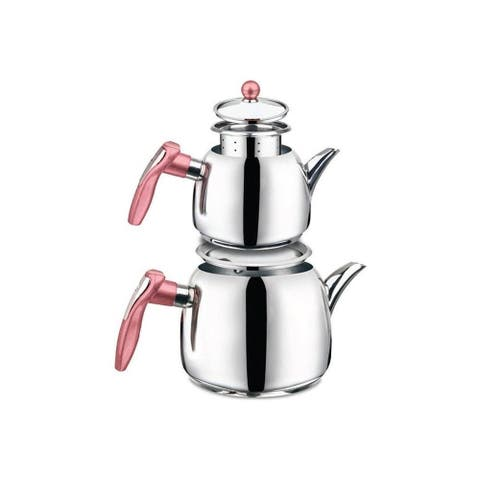 DiscountWorld Swan Stainless Steel, Turkish Teapot for 4 people, 3.8 qt