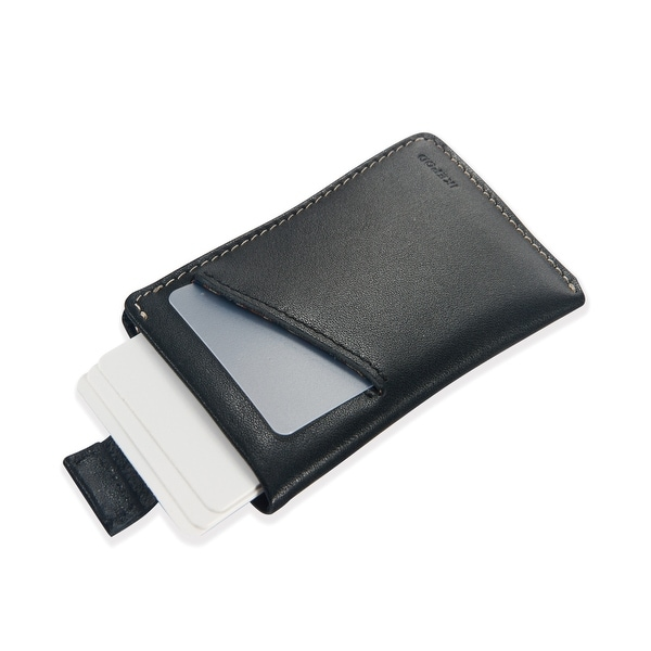 Ikepod Micro Carry Card Sleeve Wallet Ultra Slim Design(Black of 2 Color) [Italy Made//Top Leather] - Black