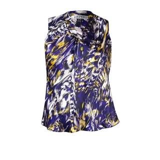 Kasper Women's Sleeveless Printed Tie Neck Charmeuse Blouse - plum multi