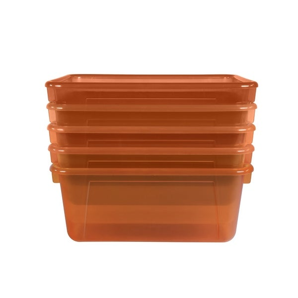School Smart Translucent Cubby Bin, Small, 12 x 8 x 5 Inches, Candy Orange, Pack of 5