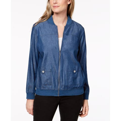 Alfred Dunner Blue Women's Size 14 Sun City Denim Bomber Jacket