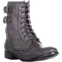 SC35 Ricky Buckle Zipper Combat Boots, Grey