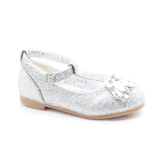 Little Girls Silver Glitter Bow Adorned T-Strap Dress Shoes