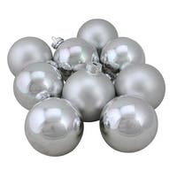 2.5 in. Glass Ball Christmas Ornament Set, Silver - 9 Piece
