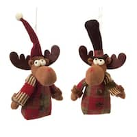 """Pack of 12 Moos Christmas Ornaments with a Striped Scarf 7"""""""