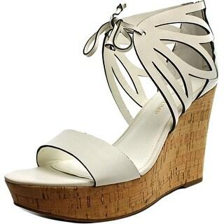 Ivanka Trump Hopela Women Open Toe Leather Ivory Wedge Sandal