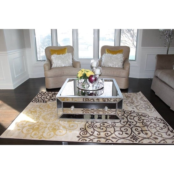 Shop Best Master Furniture Antique Silvertone Mirrored Wood/Glass Coffee  Table   Free Shipping Today   Overstock.com   12074229