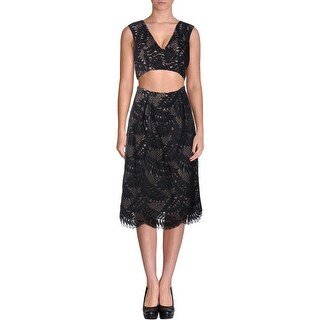 BCBG Max Azria Womens Crop Top Dress Lace Overlay Prom - 2