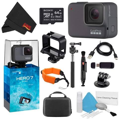 GoPro HERO7 Silver 64GB Bundle + Medium GoPro Case, Xtreme Active Monopod, and Orange Floating Strap