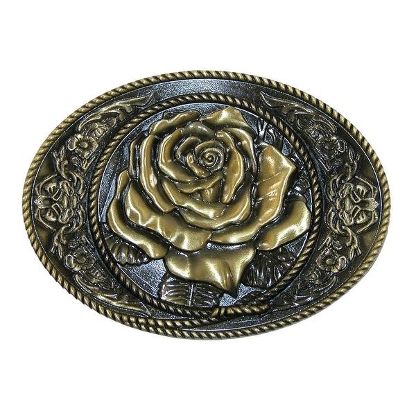 CTM® Women's Western Rose Belt Buckle - One size