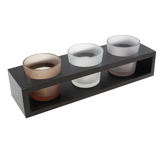 "10"" Black Wooden Tray with 3 Frosted Glass Votives and Holders"
