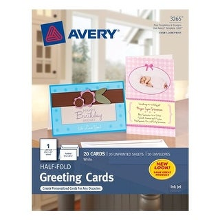 Avery 03265 Ink Jet Blank Greeting Cards 20 Count Pc20 Blank Card 20ct