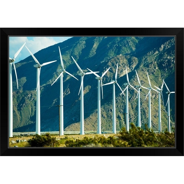 """""""Wind turbines in front of a mountain, Palm Springs, California"""" Black Framed Print"""