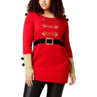 Hooked Up by IOT Womens Plus It's Our Time Tunic Sweater Sequined Santa - 3x
