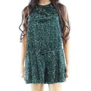 4 Sienna NEW Solid Green Women's Size Medium M halter Sequin Romper