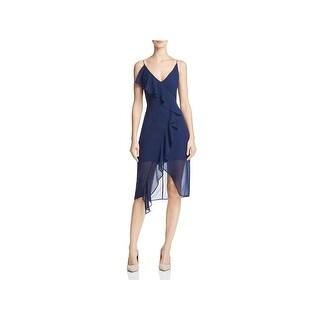 Keepsake Womens Aster Slip Dress Cascade Ruffle Asymmetrical